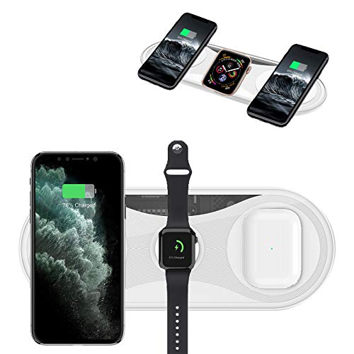 3 in 1 Wireless Charger, 15W Qi Fast Wireless Charging Pad Fit for iPhone 12 Pro Max/11 Pro Max/XR/XS Max/8 Plus/SE 2/Samsung Phone,Huawei Xiaomi, All Qi-Enabled Phone, AirPods 2/Pro, iWatch, White
