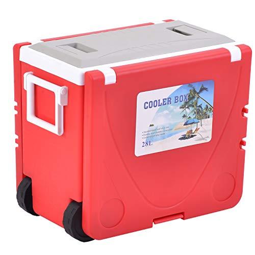 PURLOVE Kühlbox mit Rollen,Mini-Kühlschrank,Outdoor Multifunktional Klapptisch Kühler wärmer, Tisch, 2 Stühle,28L,8 Stunden (Rot)