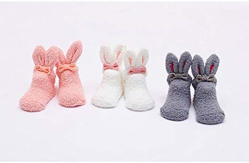Wimagic 1 Pair Baby Socks Floor Socks Infant Cute Rabbit Style Non Slip Thicken Warm Velvet Sleeping Sock for 1-3 Years Old Baby Toddler