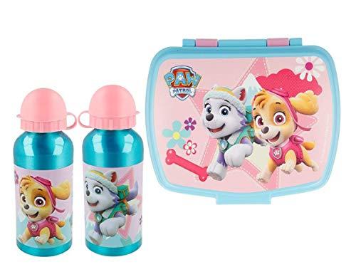 Set 1 Botella de Agua de Aluminio Infantil y Fiambrera para Colocar los almuerzos - para niñas, cantimplora a Prueba de Fugas sin BPA 400ml
