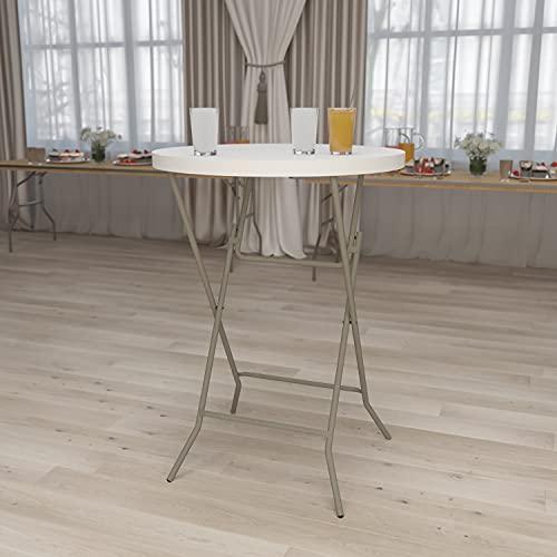 "Flash Furniture 32RD Plastic Fold Table, 32"" Round Bar Height, Granite White"