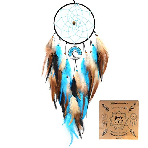 "Urdeoms Dream Catcher Handmade Turquoise Tree of Life Dream Catchers Feathers Wall Hanging Home Decor Dia 6""(NO.33)"