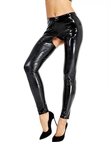 iixpin Damen Wetlook Leggings Stretch PU Lederhose Glänzend Ouvert-Hose Kunstleder Slim Schwarz Smooth Hose S-XL (S, Schwarz)
