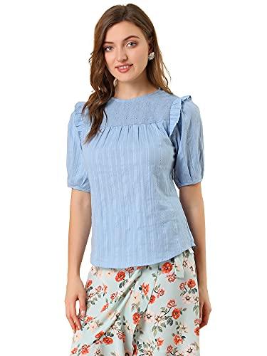 Allegra K Damen Rundhals Puffärmel Stickerei Einfarbig Kurzarm Top Bluse Blau Grau S