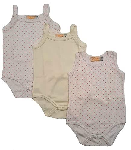 Body para bebé y niña, con cordelino, regalo para nacimiento, hospital, 3 piezas, fabricado en Italia, 0 – 36 meses Rosa 6-9 Meses