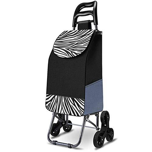 CLQya Alte Person Einkaufswagen , Kleiner Wagen Klappstuhl Wagen Tragbarer Wagen Startseite Klettertreppen Einkaufswagen Alter Anhänger