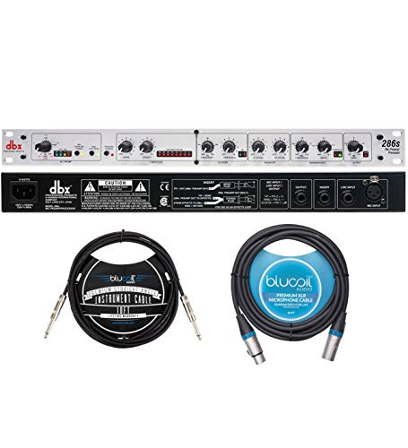dbx 286s Microphone Preamp and Channel Strip Processor with 48V Phantom Power Bundle with Blucoil 10-FT Straight Instrument Cable (1/4in), and 10-FT Balanced XLR Cable