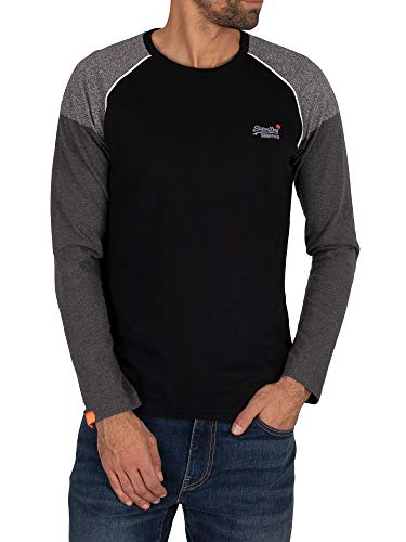 Superdry Herren Shirt OL Desert L/S Baseball TOP schwarz XL