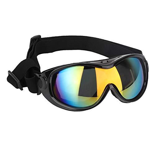 Pssopp Gafas de Sol para Perros Protección UV a Prueba de Viento Gafas para Perros Gafas para Mascotas Protección contra el Desgaste de los Ojos con Banda Ajustable (Negro)