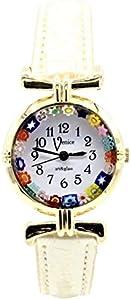 Reloj de mujer Murrina Veneciana Millefiori color oro piel watch de cristal de Murano Lady Perlado 01
