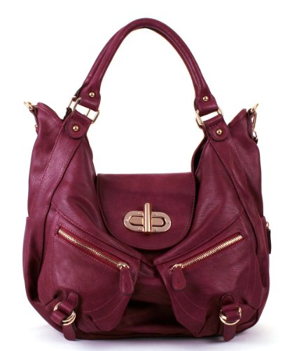 Hot Sale Melie Bianco Alyssa Expandable Shoulder Bag with Front Pockets (Berry)