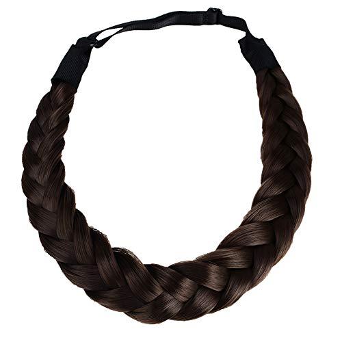 Coolcos Elastic Synthetic Chunky Hair Braid 5 Strands Braids Hair Headbands Plaited Braided Headband (Dark Brown Headband)