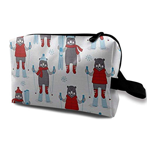 Frosty Friends Skiers Snow Portable Travel Makeup Cosmetic Bags Organizer Multifunction Case Toiletry Bags