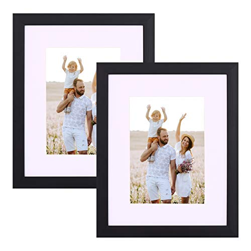 Mosearon 8X10, Set of 2 Photo Frame with High-Definition Glass, Display Pictures 5x7 with Mat or 8x10 Without Mat,Multi Picture Frames Collage for Wall or Tabletop Display, Black
