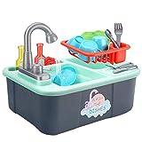 Ulalaza Kinder Küchenspüle Spielzeug Geschirrspüler Spielen Spielzeug mit fließendem Wasser Automatische Wasserhähne Haus Rollenspiel Spielzeug vortäuschen