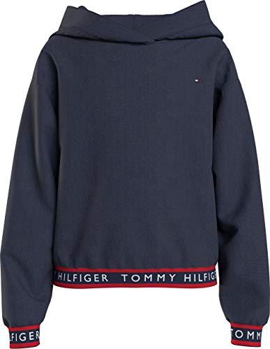 Tommy Hilfiger Mädchen Logo Rib Hoodie Pullover, Marineblau (Twilight Navy), 32