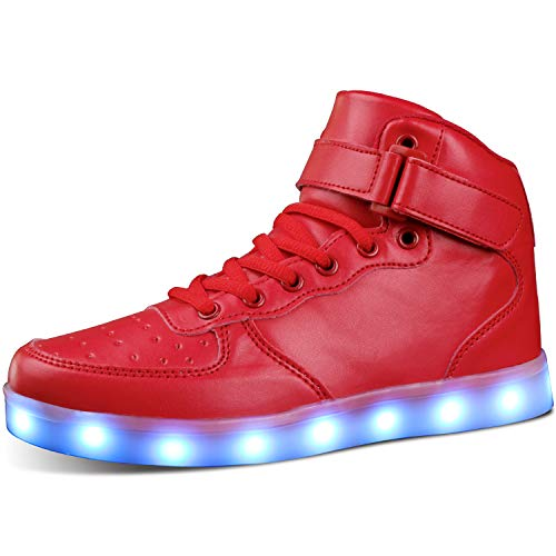 MILEADER Red LED Shoes High Top Light Up Shoes Size 14 Women 10.5 Men USB Charging Fashion Sneakers...