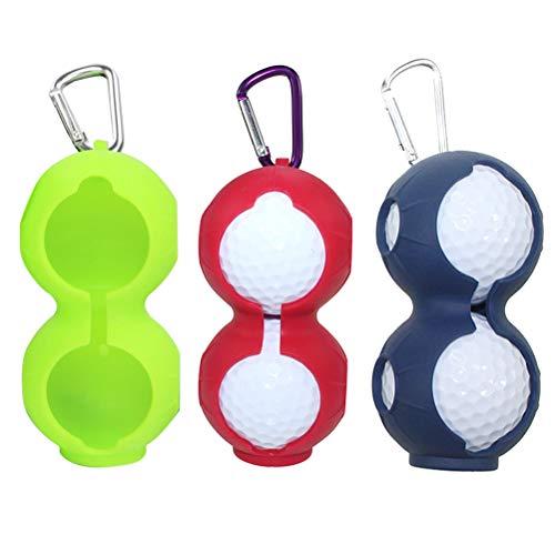 LIOOBO Silikon Golfball Tasche Halter Taillentasche Aufbewahrungstasche mit Karabiner für Golfball Mann Damen Golf Sport 3 stücke (Rot/Blau/Grün)