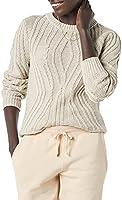 Amazon Essentials Women's 100% Cotton Crew Neck Cocoon Cable Sweater