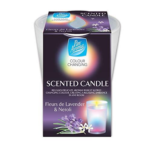 éclairage de bougie parfumée à changement de couleur de fleur de lavande et néroli