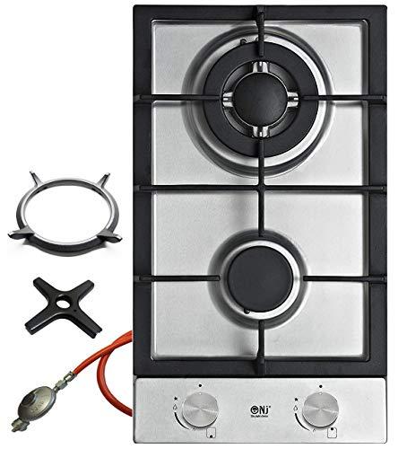 NJ Domino-302S - Cocina de gas de acero inoxidable, 2 fuegos, reductor de presión de manguera de gas, accesorio para wok y cruz de cocina de gas