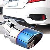 Tubo del silenziatore di scarico, acciaio inossidabile blu cromato Tubo di scarico curvo universale per auto Silenziatore posteriore Punta della coda della coda, migliora il senso della gerarchia