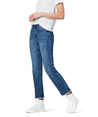 Amazon-Marke: find. Damen Straight Cut-Jeans mit mittlerem Bund, Blau (Mid Wash), 36W / 32L, Label: 36W / 32L