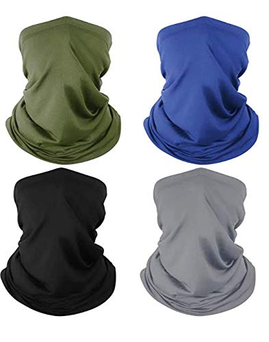 4 Pack Neck Gaiter Breathable Bandana Mask for Outdoor Protection, Washable Reusable Cooling Gaiter Mask, Headband Mask Protect from UV Dust Wind for Men Women, Cycling, Running, Hiking