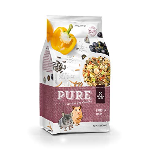 Witte Molen Pure Hamster Food Seed Mixture Mealworms, Sunflower Seeds, Puffed Rice, Grape Nuts, No Artificial Preservatives Dry Food, 1.7 lbs (Pure Hamster Food Seed Mixture Mealworms)