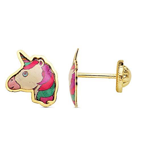 Iyé Biyé - Orecchini da bambina a forma di unicorno, smaltati 9 x 7 mm, oro giallo 18 carati, chiusura a vite