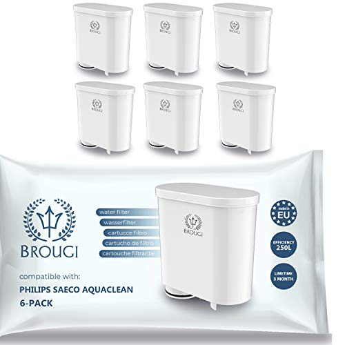 6 x BROUGI Wasserfilter für SAECO Kaffeevollautomat kompatibel mit Filter Aqua Clean CA6903 CA6903/22 CA6903/10 CA6903/00 PicoBaristo Xelsis Incanto Intelia Intuita Minuto Syntia Royal Kaffeemaschine