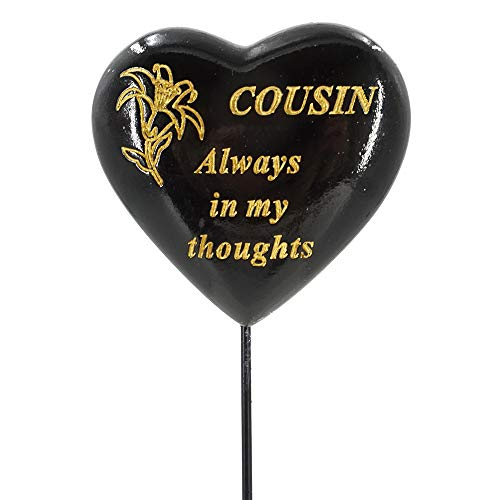 Special Cousin Black & Gold Lily Heart Flower Memorial Tribute Stick Graveside Plaque