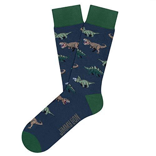 Jimmy Lion Calcetines para Hombre y Mujer Azul Jurassic Dinos Talla 41-46. Media caña en algodón peinado.