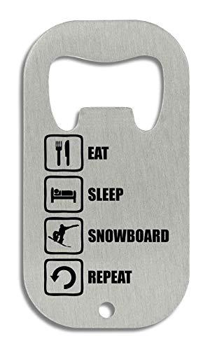 LukeTee Eat Sleep Snowboard Repeat Funny Black Graphic Flaschenöffner