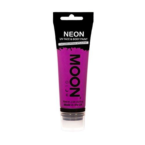 Moon Glow Grande Peinture fluo UV visage & corps. 75 ml Intense Violet avec applicateur éponge