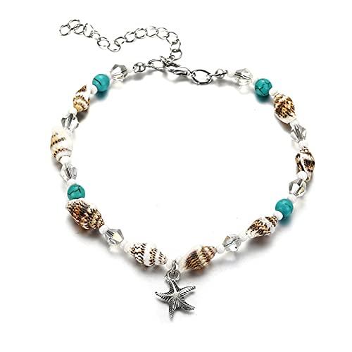 LPZW 2021 Concha Tobletle Beads Starfish Toklets para Mujeres 2019 Moda Vintage Estado Hecho a Mano Sandalia Pulsera Pie Foot Boho Jewelry (Metal Color : FCS505)