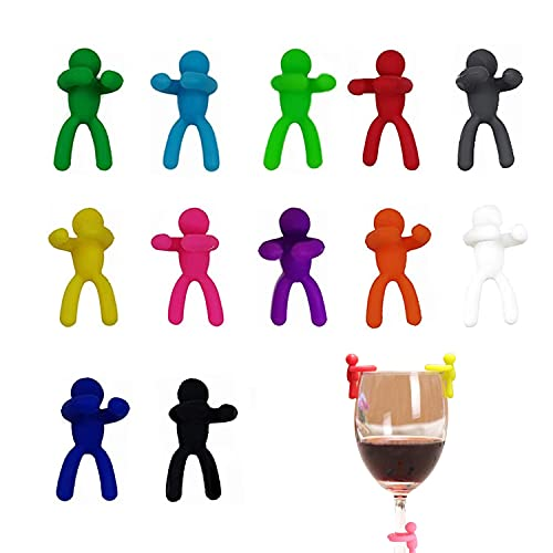 Segna Calici Colorati,Identificatore del Bicchiere di Vino,Bicchieri da Vino Pennarello in Vetro,Marcatori per bicchieri da vino,Segnabicchieri in Silicone,Tazza Per Bar Party.