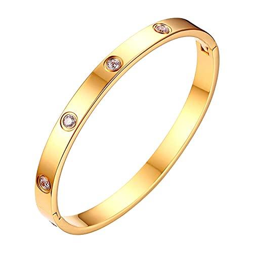 Flongo Damenarmband Edelstahlarmband Damen Armband Frauen Armreif BFF Ketten mit gefassten Zirkonia Gold Golden Elegant für Frauen