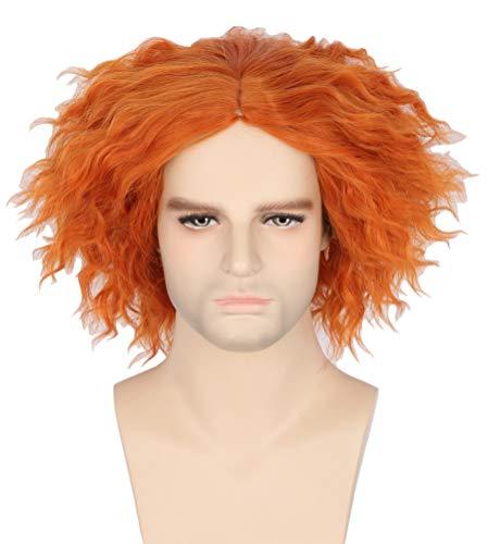Topcosplay Hutmacher Perücke, Verrückter Hutmacher Perücke Kurz Lockige Perücke Orange für Halloween Karneval