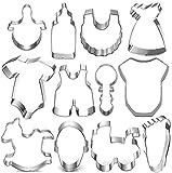 Baby Shower Cookie Cutter Set - 12 Piece Jumpsuit, Bib, Rattle, Pacifier, Bottle, Stroller, Foot, Rocking Horse Fondant/Biscuit Cutters