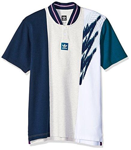 adidas Originals Men's Skateboarding Short Sleeve Tennis Jersey, Pale Melange/Collegiate Navy/Real Teal, M