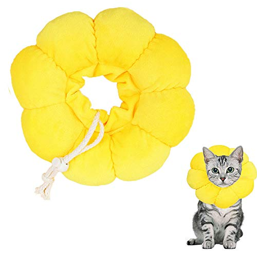 EIKLNN Collar de Recuperación para Mascotas, Collar Protector para Gato, Cono de Cuello Isabelino Ajustable, Collar Anti Mordida de Borde Suave, para Perros y Gatos, Flor del Sol