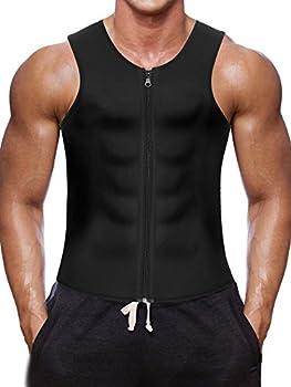 Wonderience Men Waist Trainer Vest for Weightloss Hot Neoprene Corset Body Shaper Zipper Sauna Tank Top Workout Shirt  XL Black Neoprene Slimming Vest