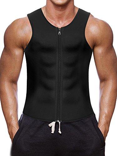 Men Waist Trainer Vest for Weightloss Hot Neoprene Corset Body Shaper Zipper Sauna Tank Top Workout Shirt (4XL, Black Neoprene Slimming Vest)
