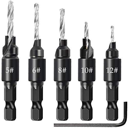 DAYREE 5PCS Woodworking Countersink Drill Bit Set Hole Cutter Chamfering and Drilling Integrated High-Speed Steel Countersinking Drill Bit Hex Key Wrench 5 6 8 10 12