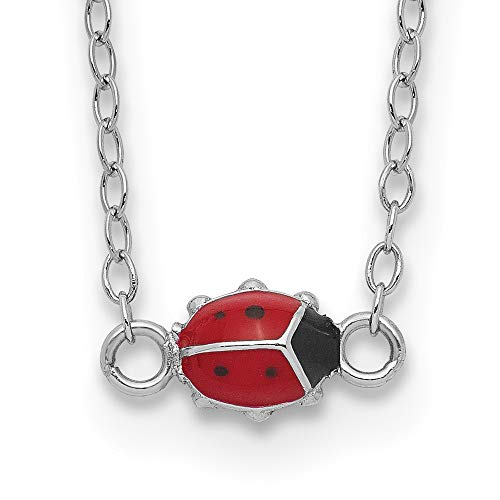 Ryan Jonathan Fine Jewelry Sterling Silver Enameled Lady Bug Necklace, 16' +2' Extender