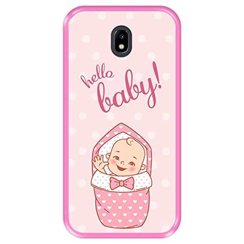 Hapdey Funda Rosa para [ Samsung Galaxy J5 2017 ] diseño [ Bienvenida, Hola niña ] Carcasa Silicona Flexible TPU