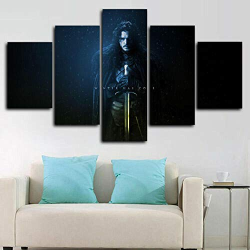 Cuadros Decoracion Salon Modernos Game of Throne Jon Snow Walker 5 Piezas Lienzo Grandes XXL Murales Pared Hogar Pasillo Decor Arte Pared Foto Innovador Regalo
