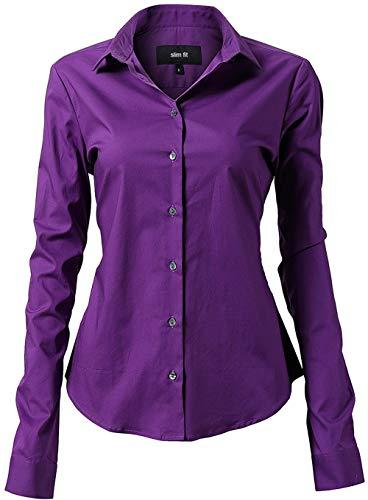 INFLATION Damen Hemd mit Knöpfen Baumwolle Bluse Langarmshirt Figurbetonte Hemdbluse Business Oberteil Arbeithemden Violett 38/12
