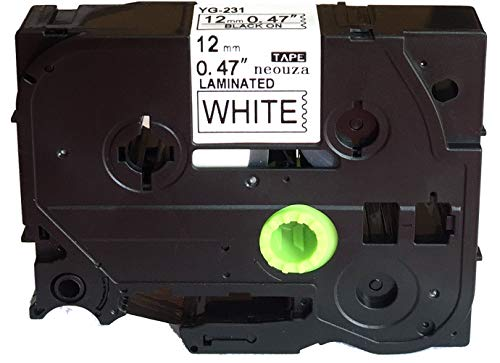 NEOUZA Compatible for Brother P-touch TZe Tz Black on White label tape 6mm 9mm 12mm 18mm 24mm 36mm all size(TZe-231 12mm)
